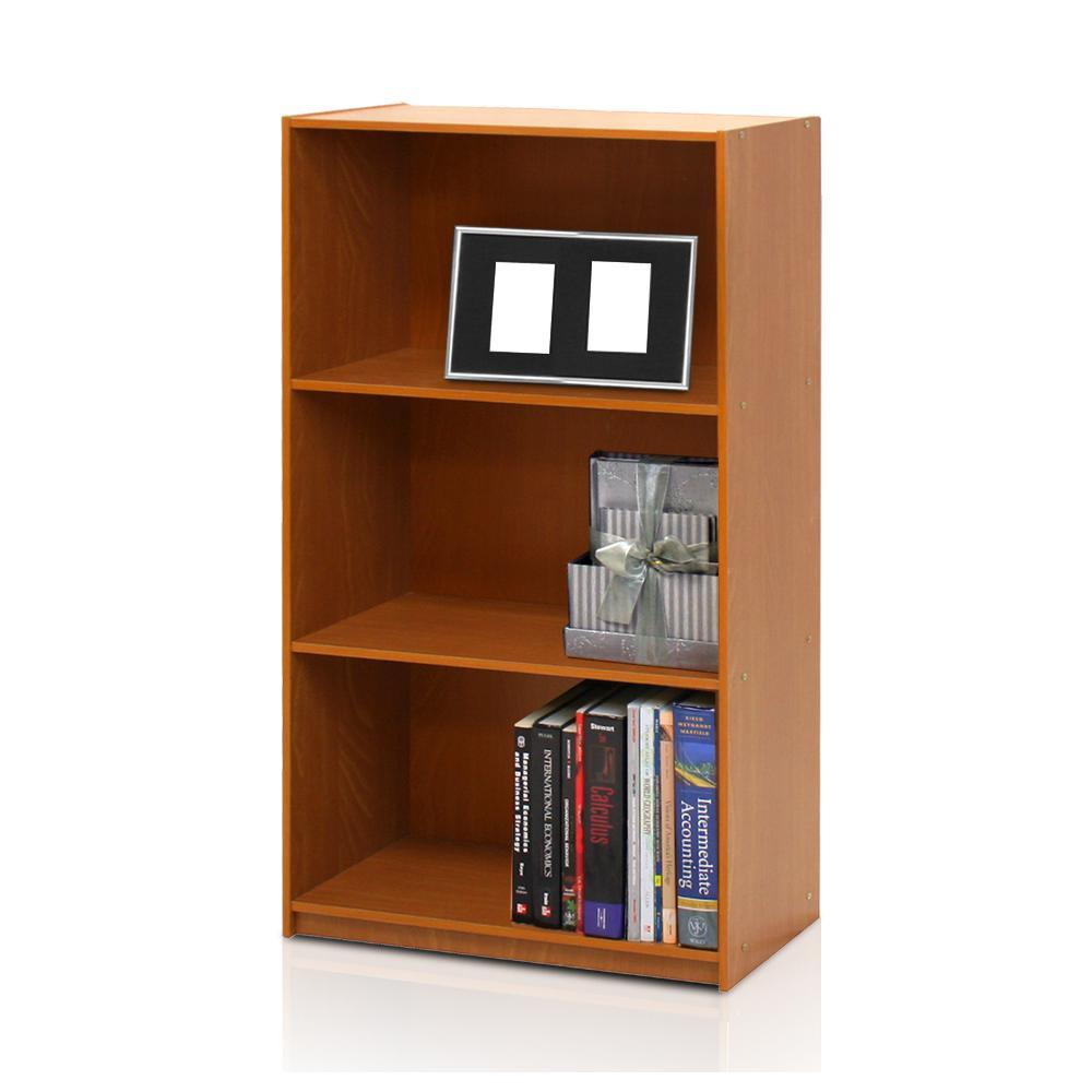 Basic 3-Self Light Cherry Open Bookcase