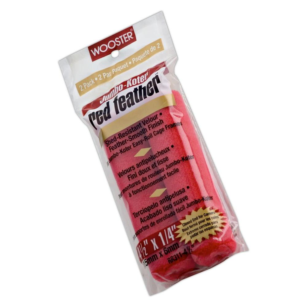 4-1/2 in. Jumbo-Koter Red Feather Velour Roller (2-Pack)