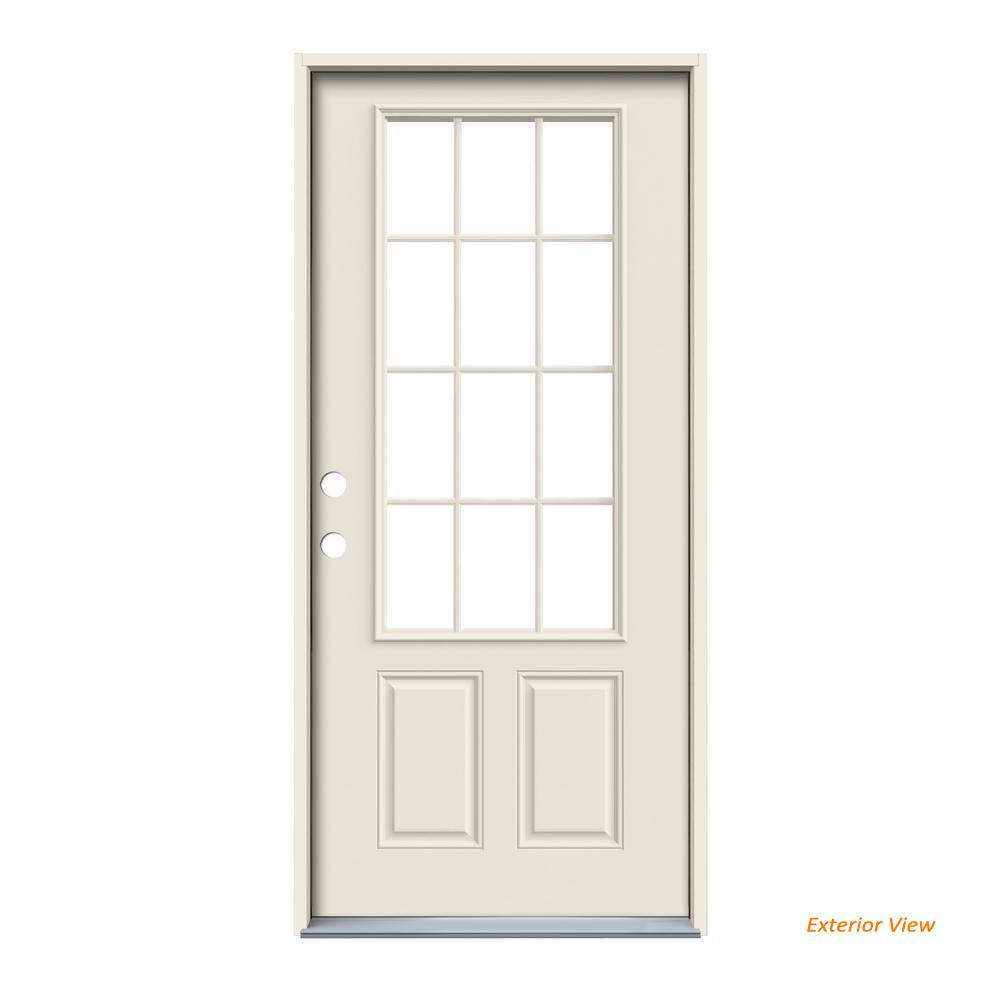 32 in. x 80 in. 12 Lite Primed Steel Prehung Right-Hand Inswing Front Door