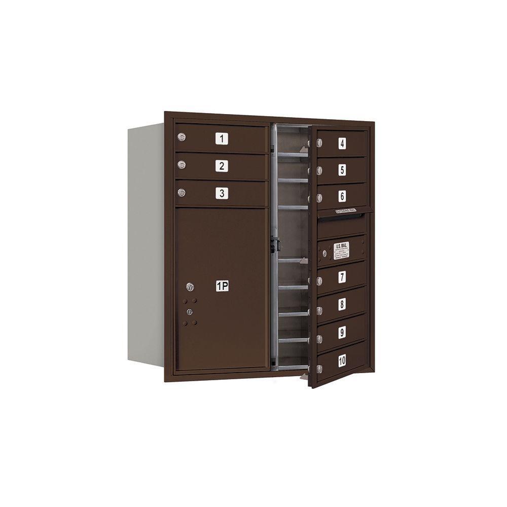 3700 Series 34 in. 9 Door High Unit Bronze USPS Front Loading 4C Horizontal Mailbox with 10 MB1 Doors/1 PL6