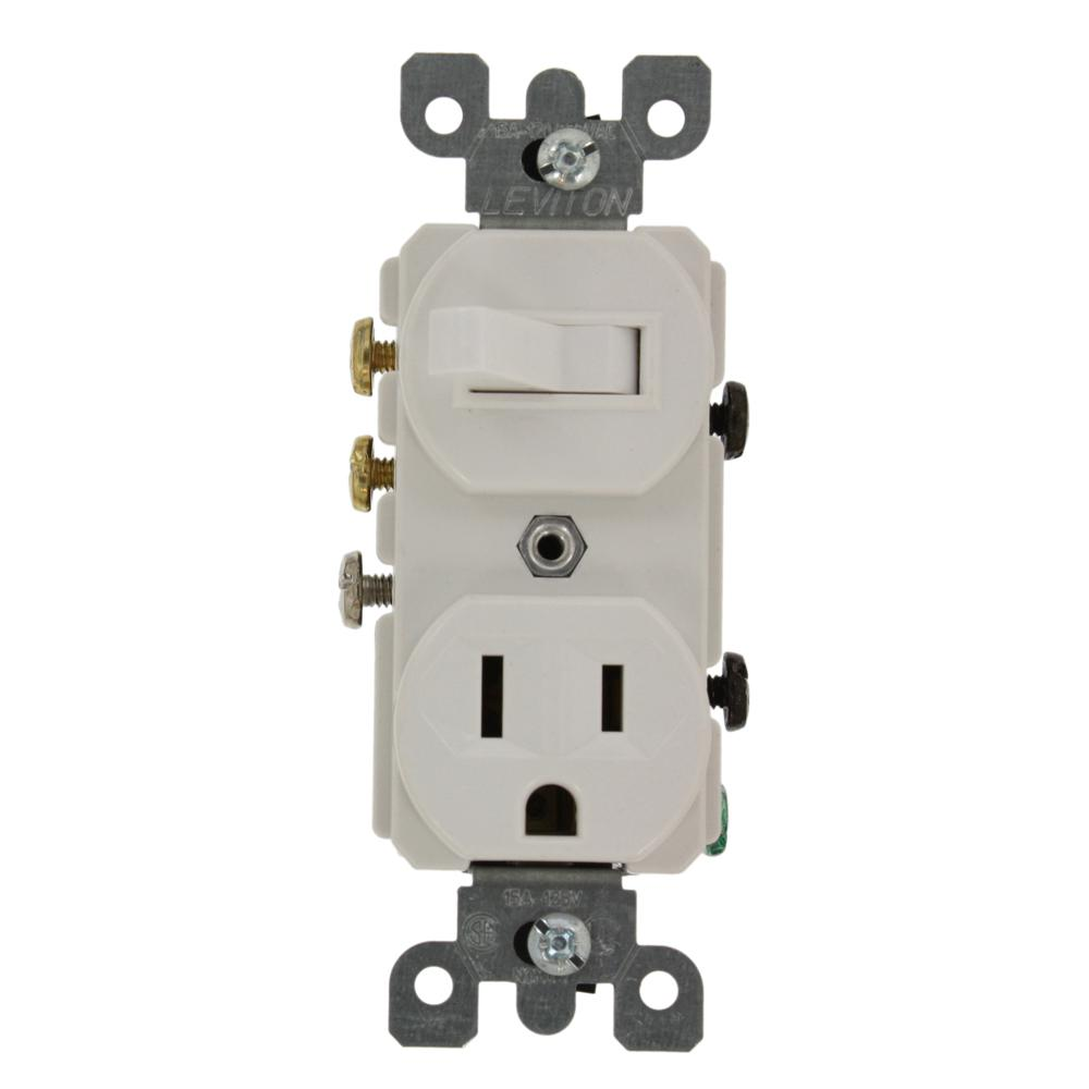 Leviton 15 Amp Commercial Grade Combination 3-Way Toggle Switch and ...