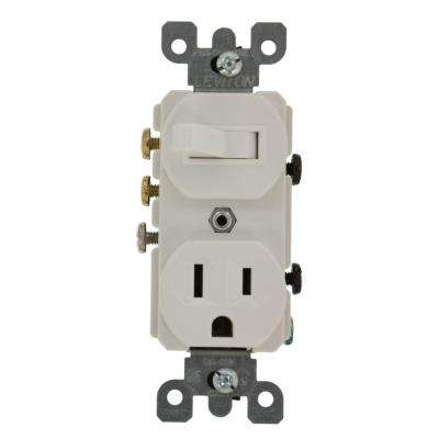 15 Amp Commercial Grade Combination 3-Way Toggle Switch and Receptacle, White