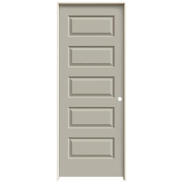 28 in. x 80 in. Rockport Desert Sand Painted Left-Hand Smooth Molded Composite MDF Single Prehung Interior Door