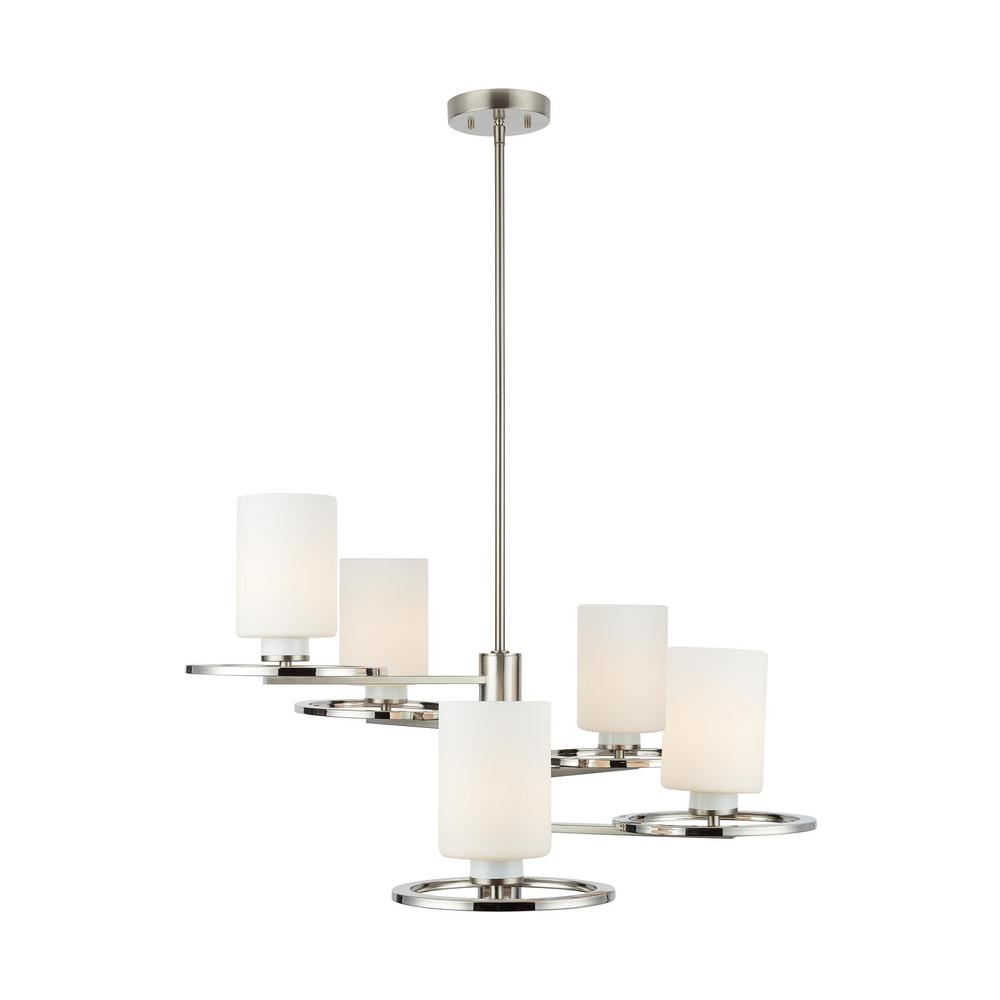 Home Decorators Collection 5-Light Polished Nickel and Brushed Nickel Chandelier with Etched Opal Cylinder Glass Shades
