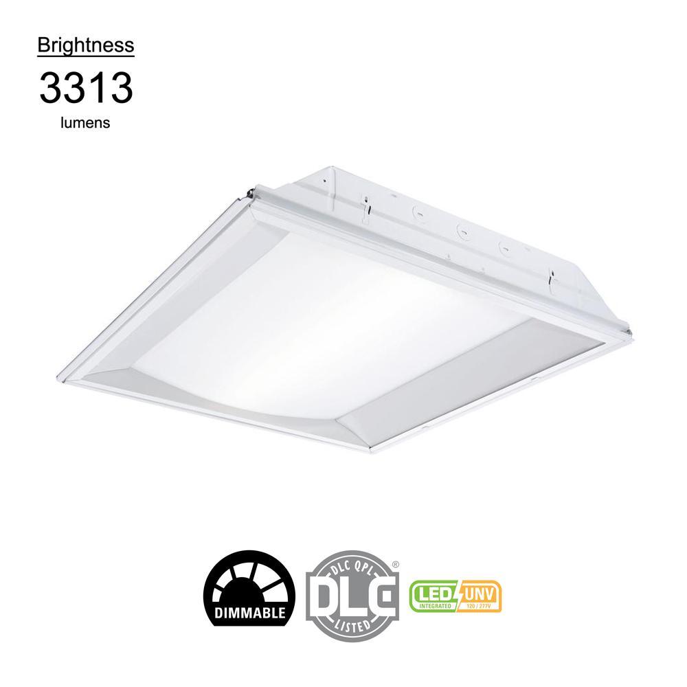2 ft. x 2 ft. White Integrated LED Center Basket Drop Ceiling Troffer Light with 3313 Lumens, 3500K