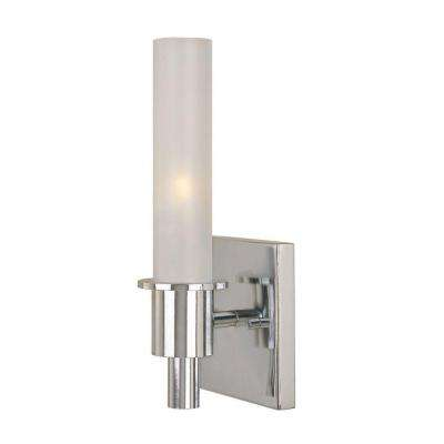 Dunwoody 1-Light Chrome Sconce with Tube Frosted Glass