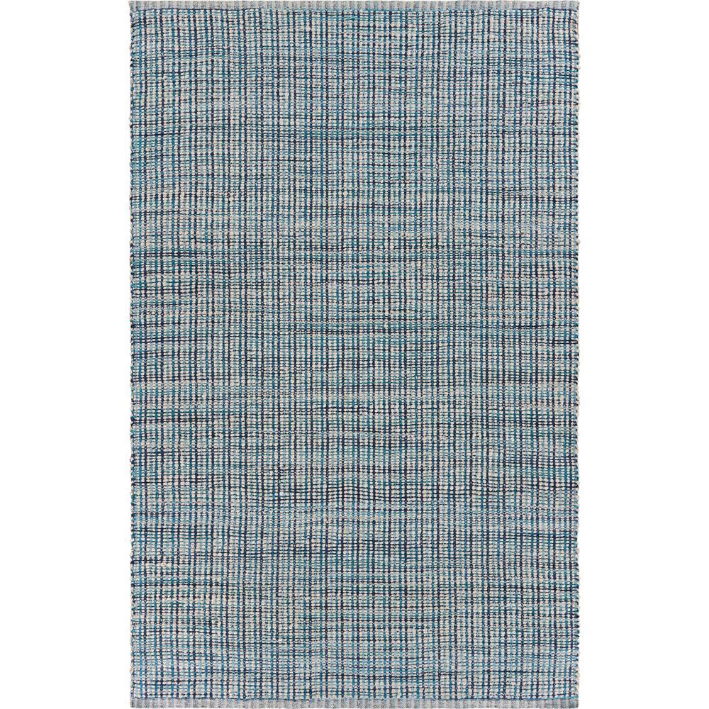 Bleached Naturals Blue/Beige 2 ft. x 3 ft. Check Plaid Jute Blend Area Rug