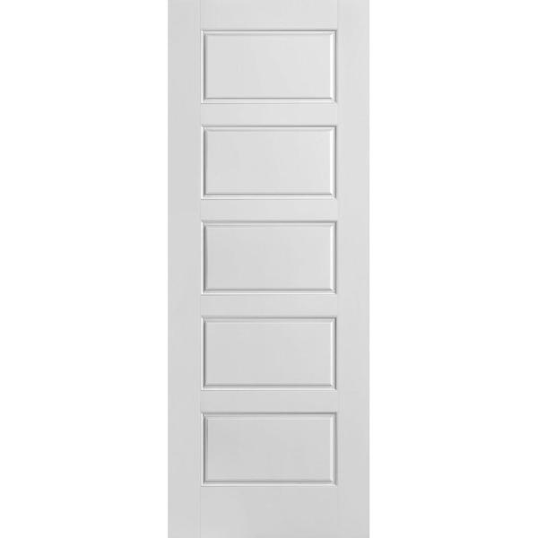 30 in. x 80 in. Riverside Smooth 5-Panel Equal Hollow Core Primed Composite Interior Door Slab