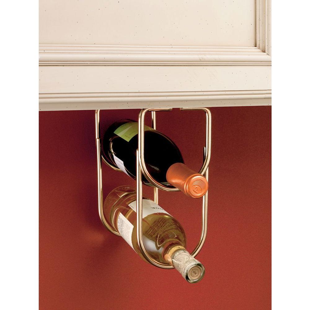 0.625 in. H x 4.25 in. W x 9 in. D Brass Under Cabinet Double Wine Bottle Rack