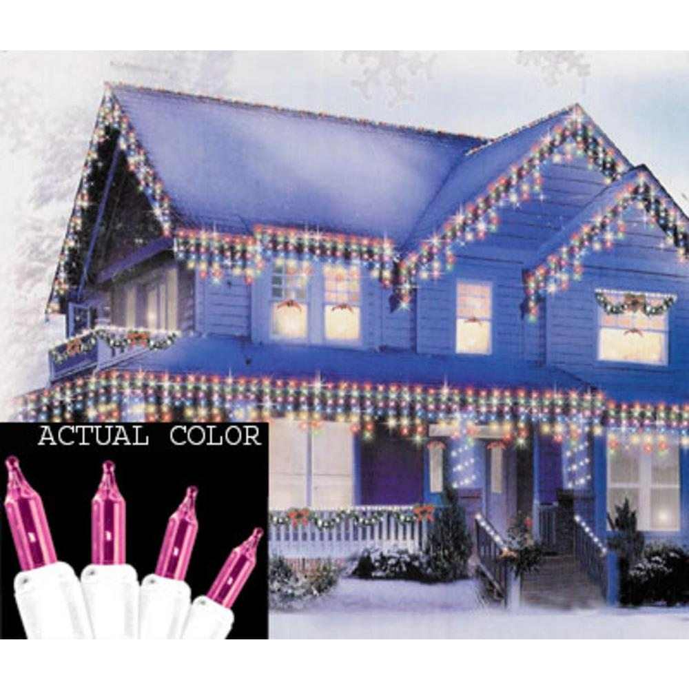 Sienna Set of 100 Pink Mini Icicle Christmas Lights - White Wire