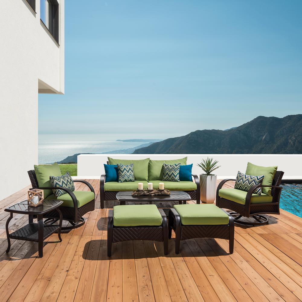 Barcelo 7-Piece Wicker Motion Patio Deep Seating Conversation Set with Sunbrella Ginkgo Green Cushions