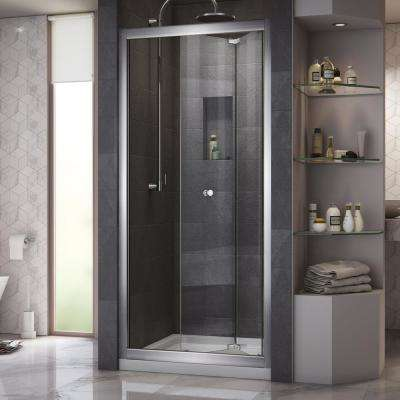 Butterfly 36 in. x 74.75 in. Semi-Frameless Bi-Fold Shower Door in Chrome with Center Drain Shower Base in White