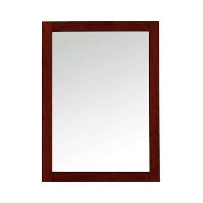 Foxworth 28 in. W x 32 in. H Single Framed Wall Mount Mirror in Dark Cherry