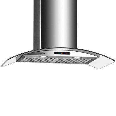 36 in. 500 CFM Convertible Wall-Mounted Range Hood with LED Lights in Stainless Steel