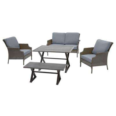 Grayson 5-Piece Ash Gray Wicker Outdoor Patio Dining Set with CushionGuard Steel Blue Cushions