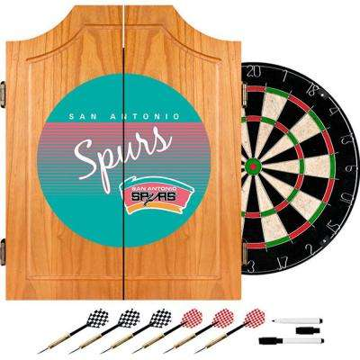 20.5 in. San Antonio Spurs Hardwood Classics NBA Wood Dart Cabinet Set