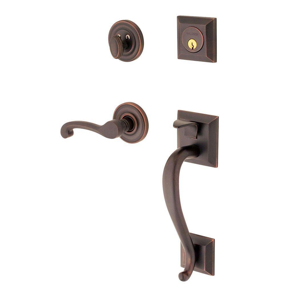 Madison Single Cylinder Venetian Bronze Left-Handed Door Handleset with Wave Lever