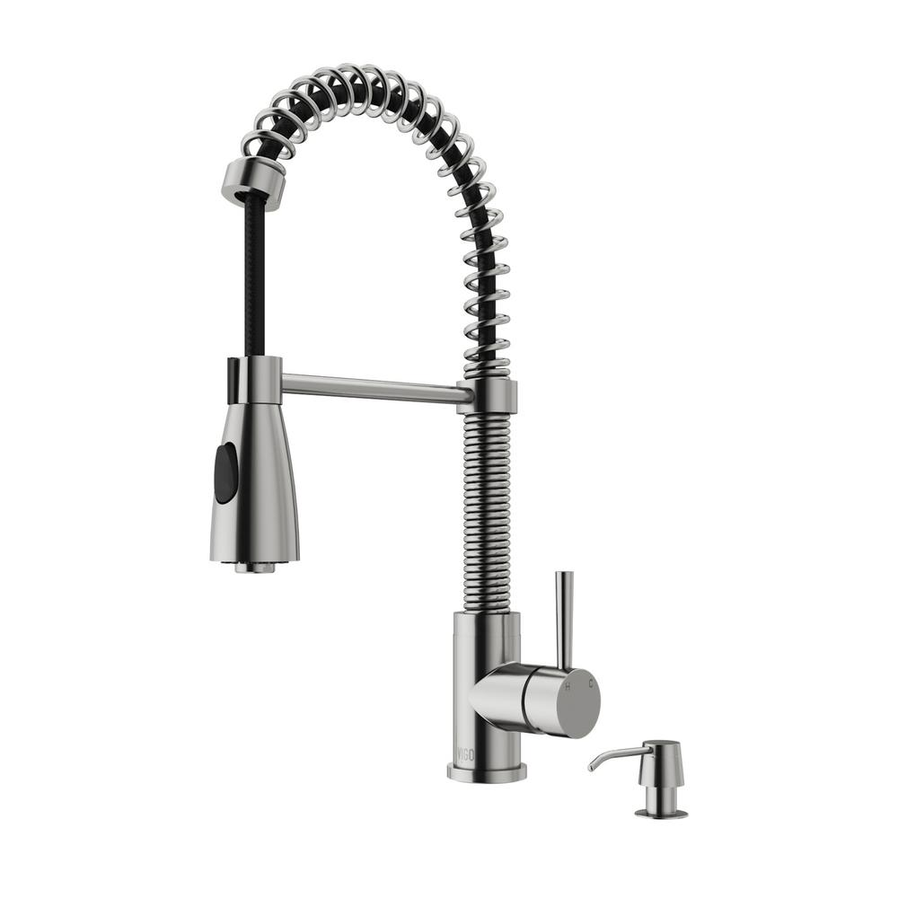 Vigo Single Handle Pull Out Sprayer Kitchen Faucet In Stainless Steel