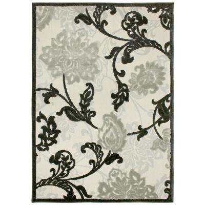 Structure Floral Silver Grey 5 ft. 3 in. x 7 ft. 5 in. Indoor/Outdoor Area Rug