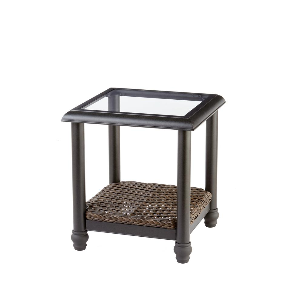 Home Decorators Collection Camden Dark Brown Wicker Outdoor Side Table