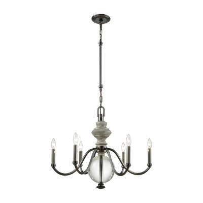 Neo Classica 6-Light Aged Black Nickel with Weathered Birch Wood and Clear Crystal Ball Chandelier