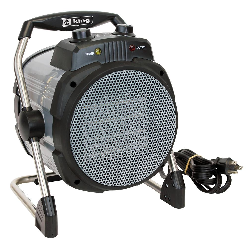 KING 1500-Watt 120-Volt Portable Heater with Stat and Plug-In Cord, Grays The KING PH-15T portable shop/workspace heater is designed to provide supplemental heat at an affordable price. Perfectly suited for personal use applications and small workshops, workshop spaces. The convenient 6 ft. cord allows greater mobility to areas needing heat. Easily set the desired temperature with the built-in thermostat. Sure, stop high-limit temperature control provides over heat protection. Comes with comfort grip handle and adjustable tilt control. 1 year warranty. Color: Grays.
