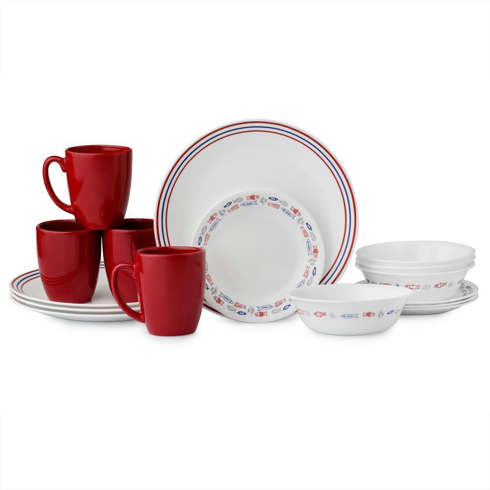 Corelle Clic 16 Piece Harbor Town Dinnerware Set