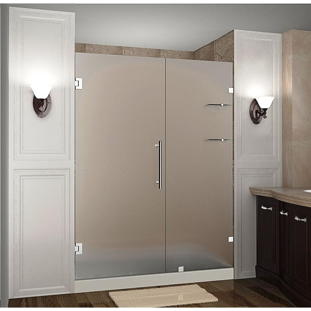 Aston Nautis GS 62 in. x 72 in. Frameless Hinged Shower Door with Frosted Glass and Glass Shelves in Stainless Steel