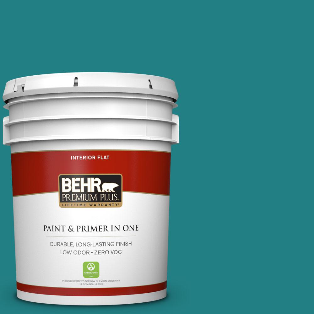 5 gal. #510D-7 Pacific Sea Teal Zero VOC Flat Interior Paint