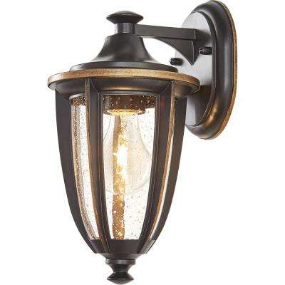 1-Light Black with Gold Highlights Outdoor 6 in. Wall Lantern Sconce with Clear Seedy Glass