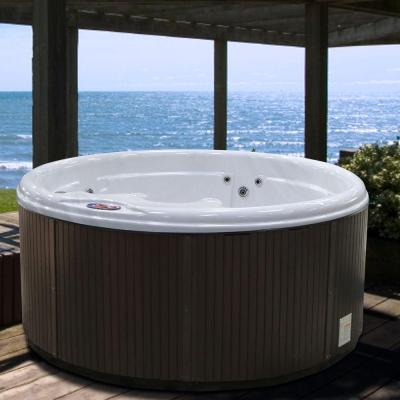 5-Person 11-Jet Premium Acrylic Round Sterling Silver Spa Hot Tub with Multi Color Spa Light