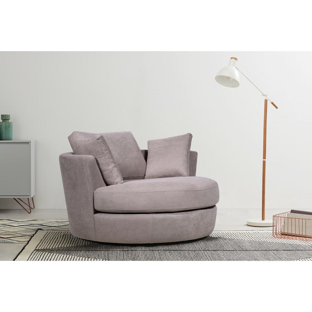 Boyel Living 54 In Light Brown, Round Swivel Chair Living Room