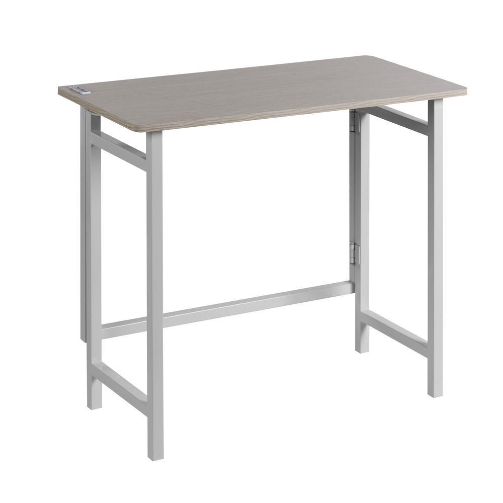 Dual Usb White Basics No Embly Compact Desk