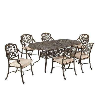 Floral Blossom Taupe 7-Piece Patio Dining Set with Beige Cushions