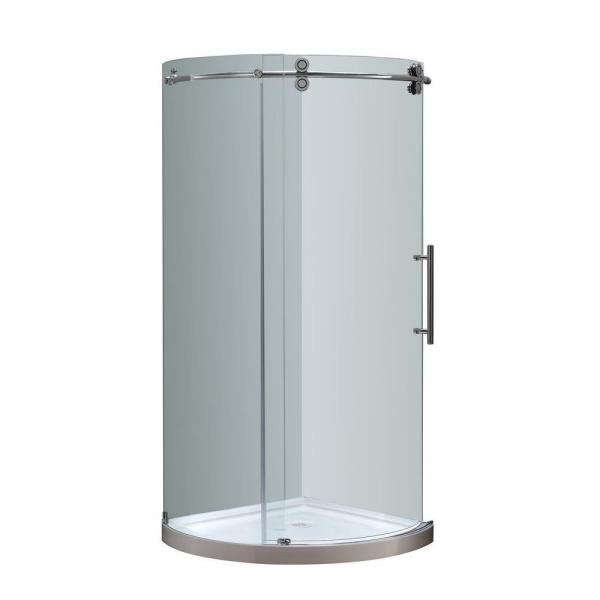 Orbitus 36 in. x 36 in. x 77-1/2 in. Completely Frameless Round Shower Enclosure in Chrome with Right Opening and Base