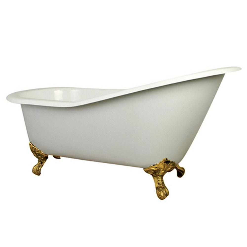Cast Iron Polished Brass Claw Foot Slipper Tub With