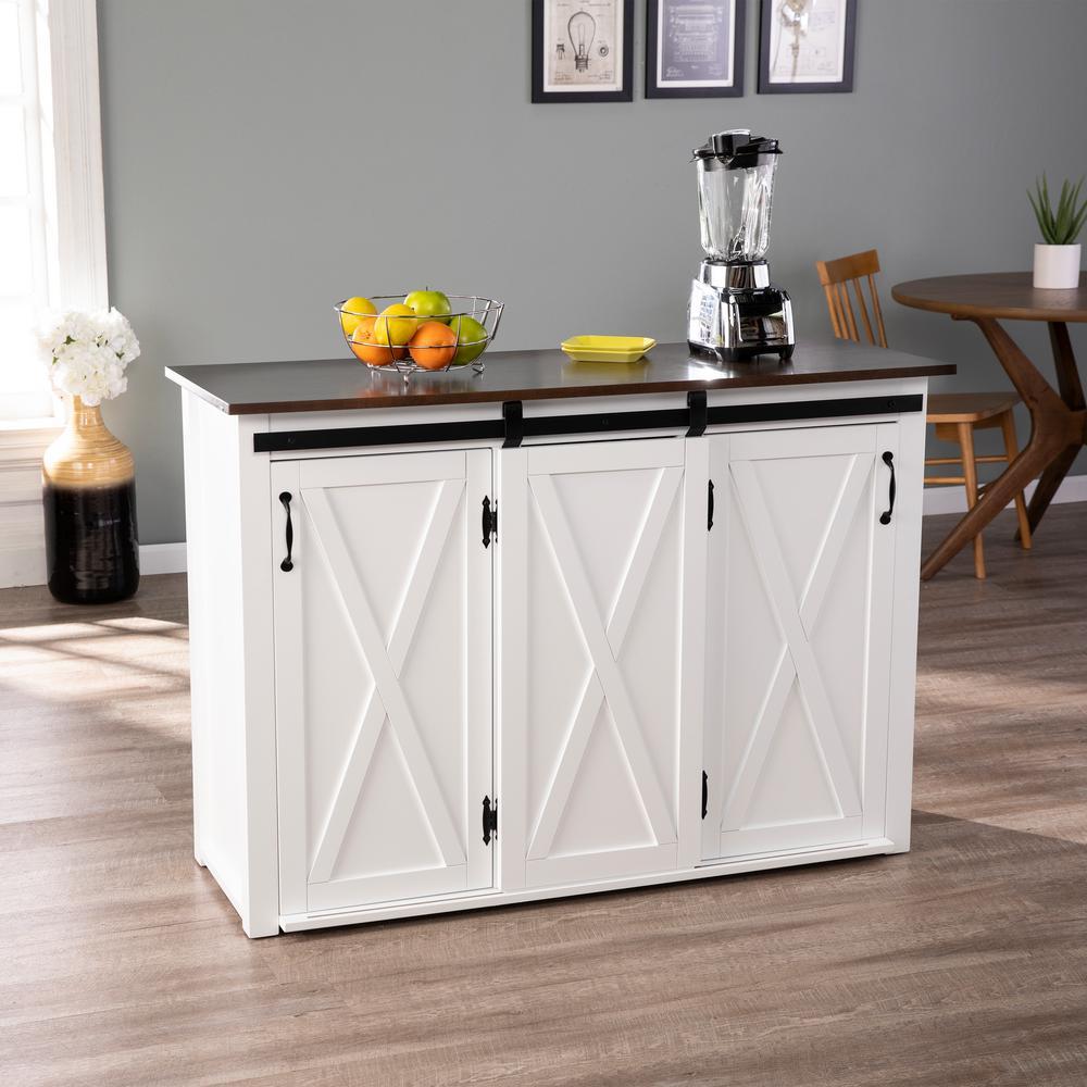 Barn Door Kitchen Cabinets Southern Enterprises Hemani Dark Brown and White Barn Door Kitchen