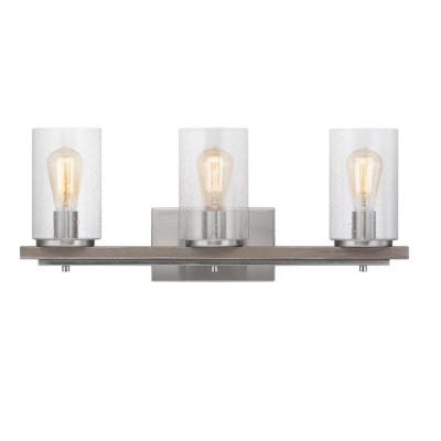 Boswell Quarter 8 in. 3-Light Brushed Nickel Vanity Light with Weathered Gray Wood Accents and Clear Seeded Glass Shades