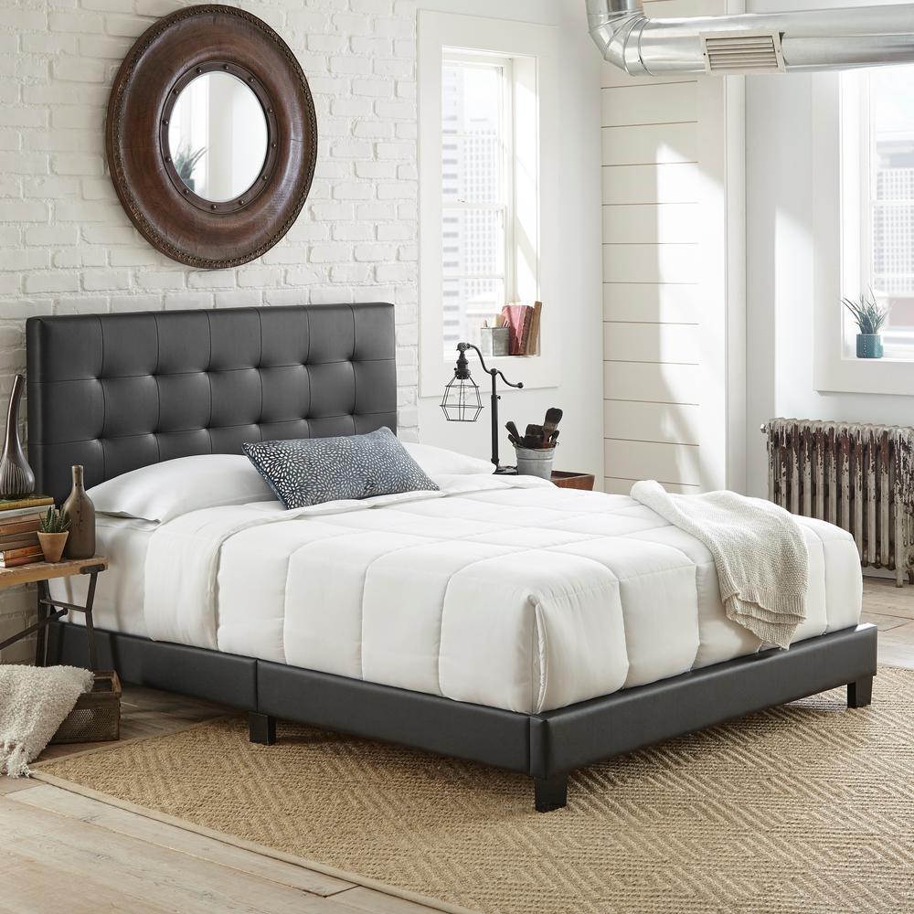 Channing Black Queen Tufted Upholstered Platform Bed