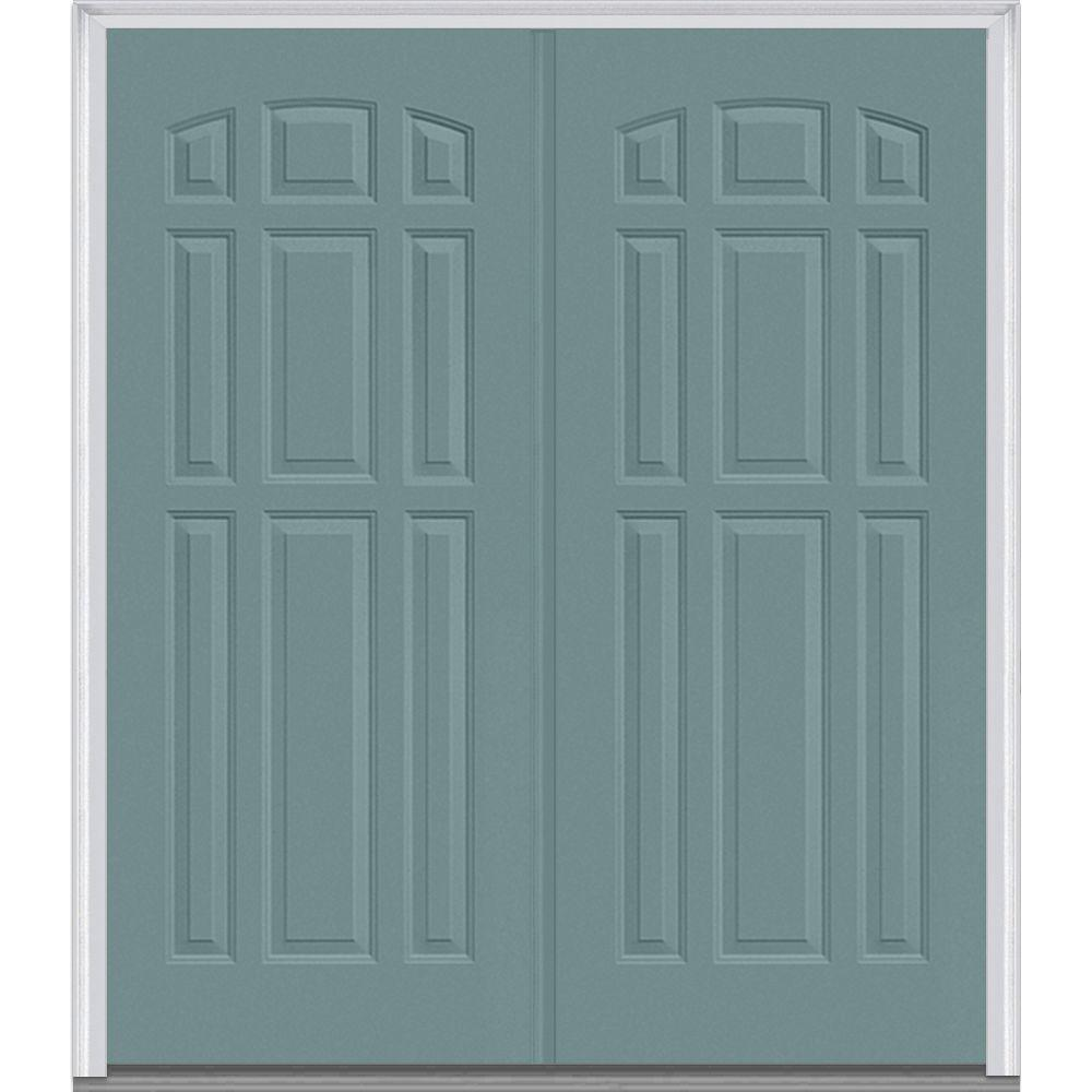 72 in. x 80 in. Classic Right-Hand Inswing 9-Panel Painted Fiberglass