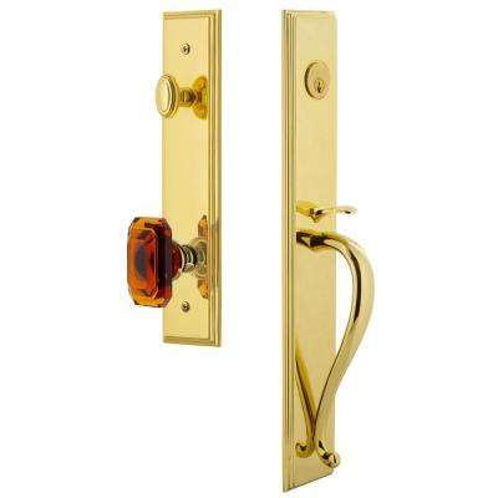Carre Lifetime Brass 1-Piece Door Handleset with S-Grip and Baguette Amber Knob