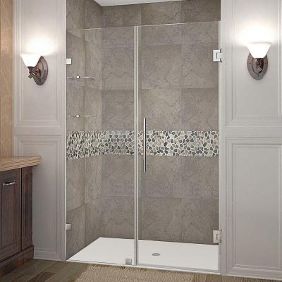 Nautis GS 44 in. x 72 in. Frameless Hinged Shower Door in Stainless Steel with Glass Shelves