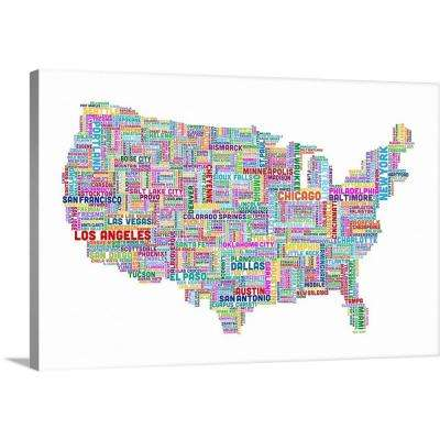 """United States Cities Text Map, Multicolor on White"" by  Michael Tompsett Canvas Wall Art"