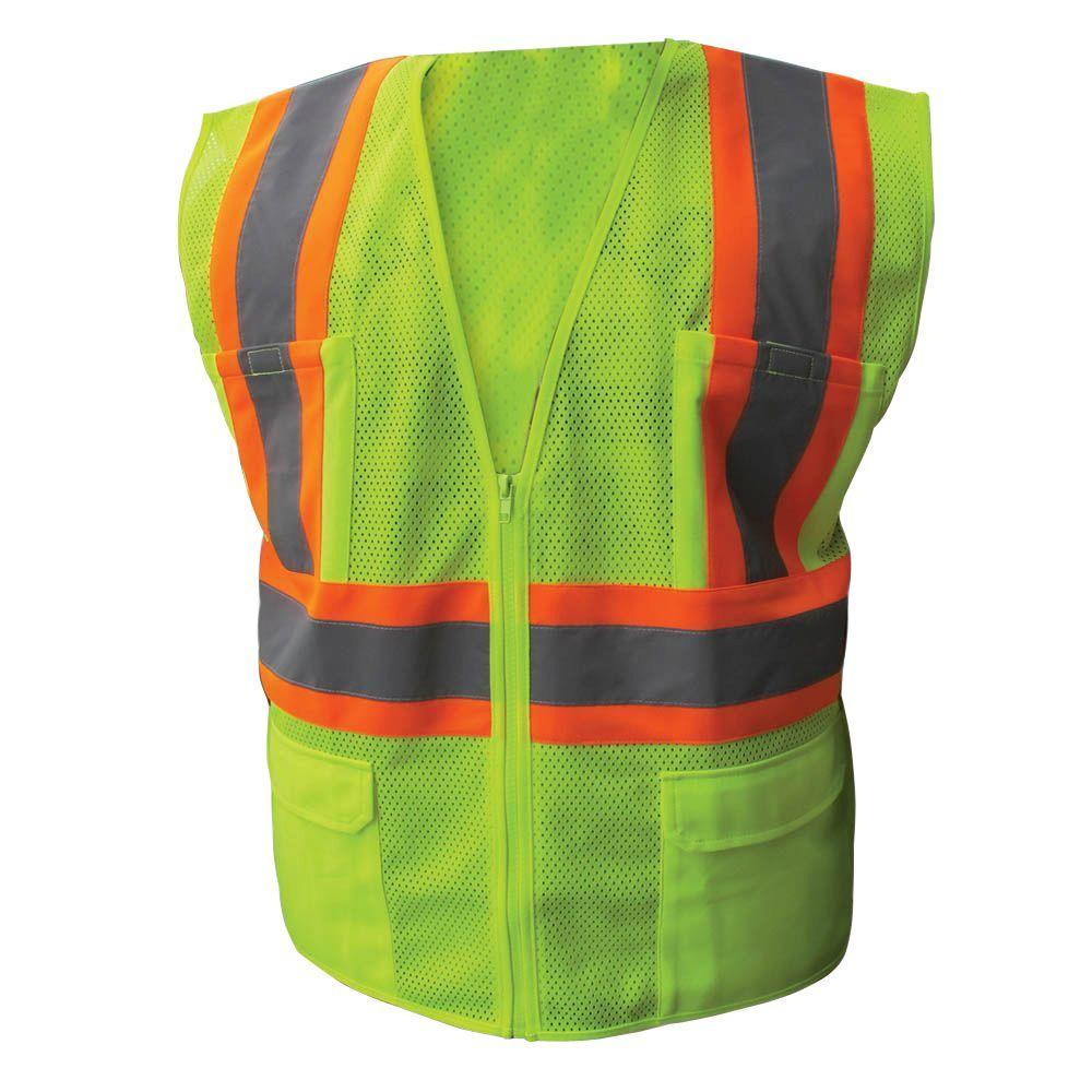 Size 4X-Large Lime ANSI Class 2 Poly Mesh Safety Vest