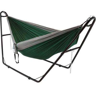 10.5 ft. Free Standing Nylon Parachute 2-Person Camping Hammock Bed with Stand in Green and Gray
