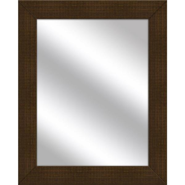 Medium Rectangle Natural Wood Art Deco Mirror (31.5 in. H x 25.5 in. W)