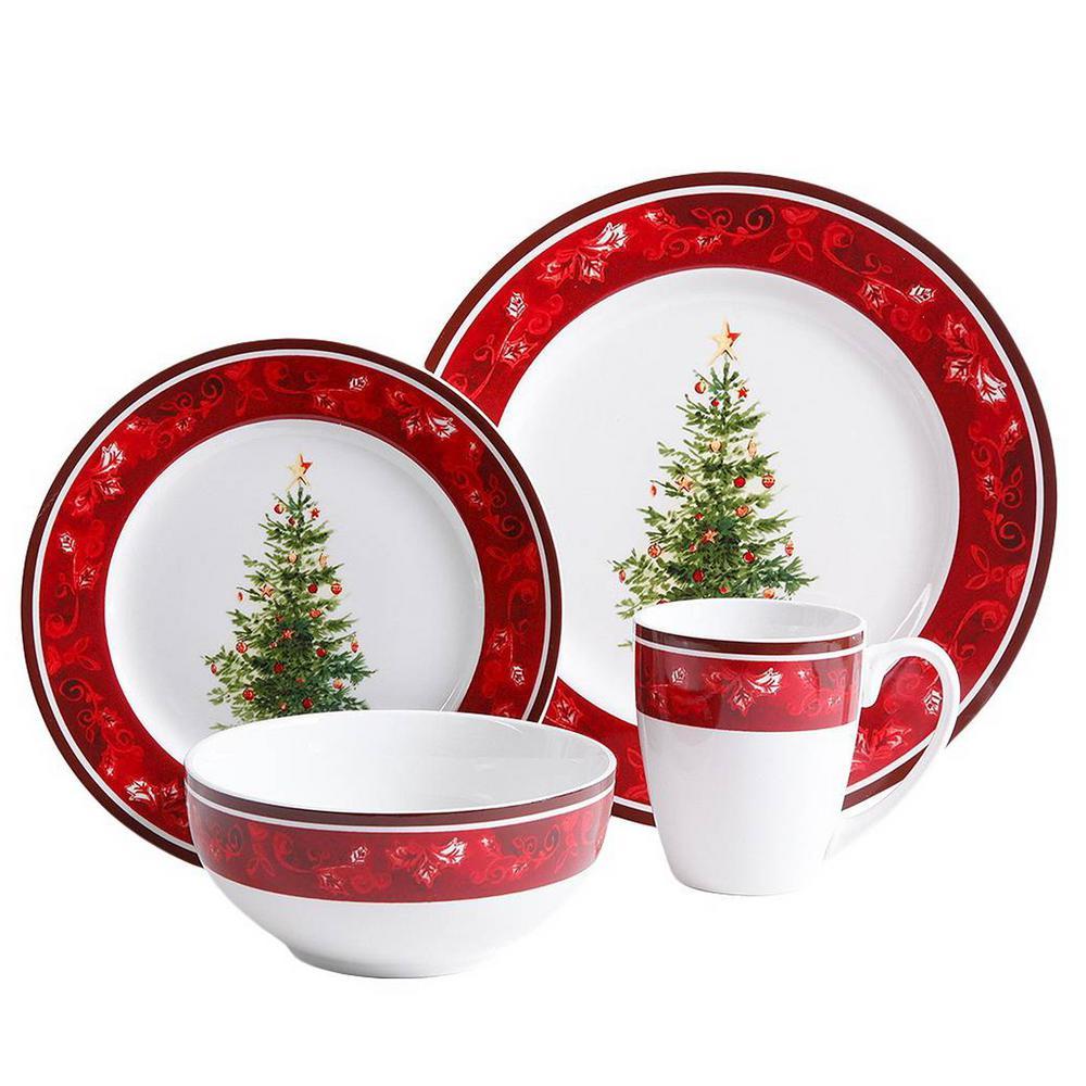 Noel Nostalgia 16-Piece Multi-Color Ceramic Dinnerware Set