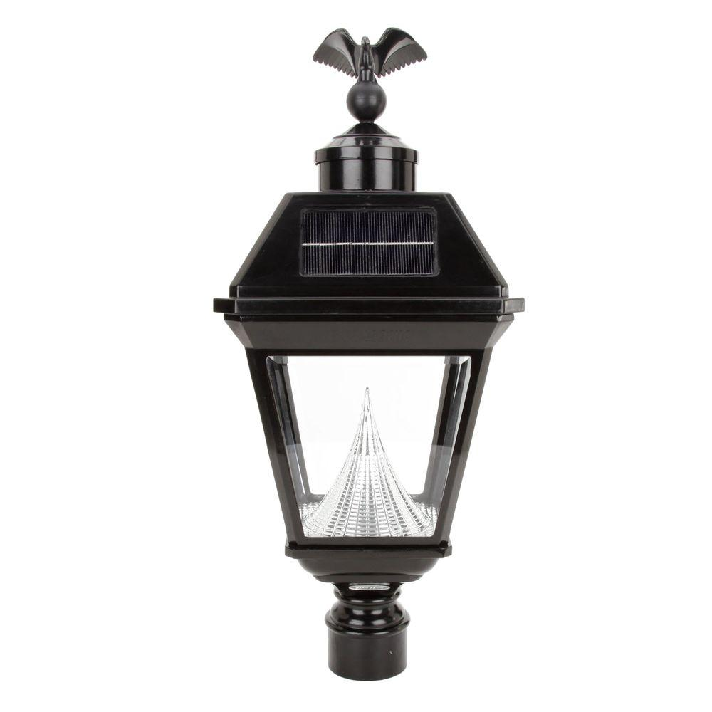 Gama Sonic Imperial 23.5 in. Outdoor Black 8 LED Solar Lantern with 3 in. Fitter Mount, Eagle Finial-DISCONTINUED