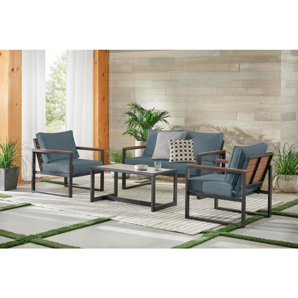 West Park 4-Piece Black Aluminum Outdoor Patio Conversation Set with Sunbrella Denim Blue Cushions