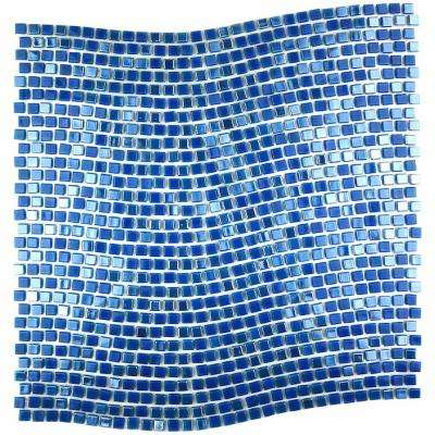 Blue Mosaic 0.25 in. x 0.25 in. Iridescent Glass Mesh Mounted Decorative Bathroom Wall and Floor Tile (1 Sq. ft.)